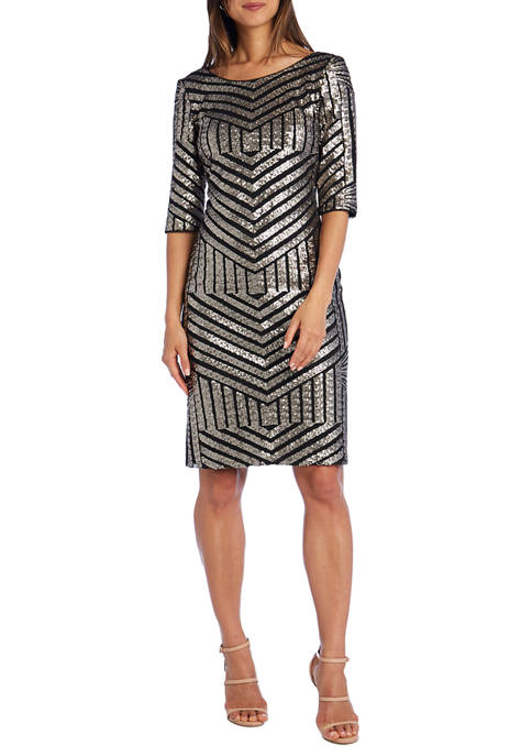 R & M Richards Womens Matte Sequin Bodycon