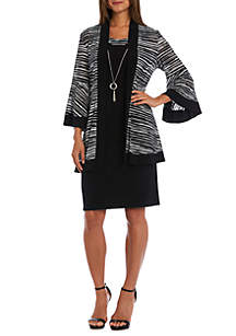Bell Sleeve Jacket Dress with Necklace