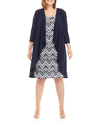 RM Richards Plus Size Jacket and Dress Set with Necklace