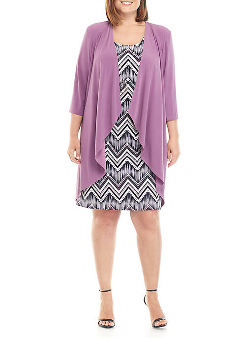 Plus Size Jacket and Dress Set with Necklace