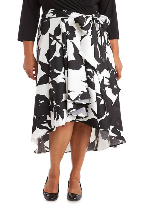 RM Richards Plus Size Printed Hi-Lo Dress