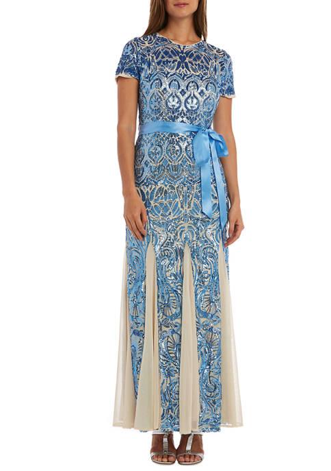 R & M Richards Petite Panel Godet Dress