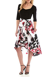 R & M Richards High Low Floral Gown