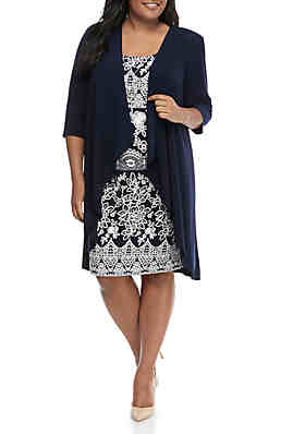b2af719bcfb R   M Richards Plus Size Puff Rose Print Jacket Dress ...