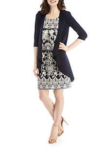 R & M Richards Jacket Puff Rose Print Dress