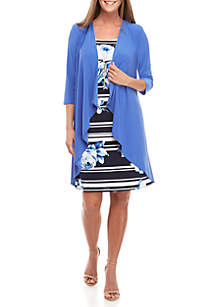 RM Richards 2 Piece Bell Sleeve Jacket and Rose Dress Set