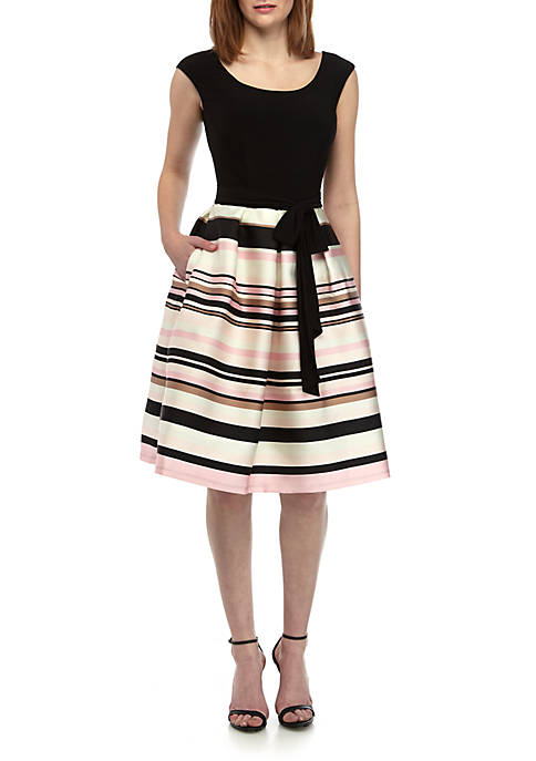 RM Richards Short Sleeve Stripe Party Dress
