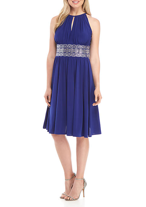 Halter Keyhole Neck Short Dress