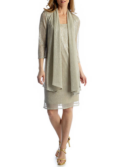 RM Richards Womens 3/4 Sleeve Jacket Dress