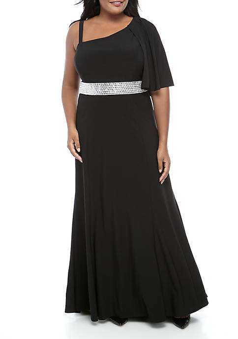 Plus Size Cape Overlay Shoulder High Low Embellished Long Gown