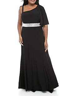 755f91221d ... RM Richards Plus Size Cape Overlay Shoulder High Low Embellished Long  Gown