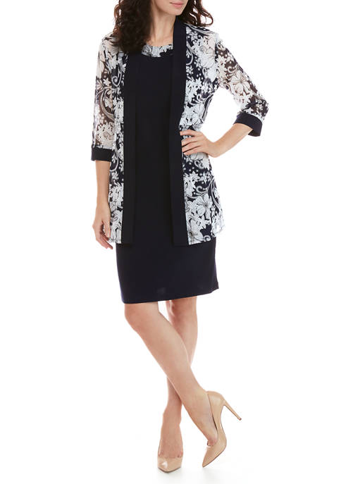 Womens 2 Piece Floral Jacket and Solid Dress Set