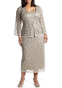 8719cd4212b ... RM Richards Plus Size Three-Quarter Sleeve Jacket Dress