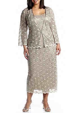 ccfa4022528 RM Richards Plus Size Three-Quarter Sleeve Jacket Dress ...