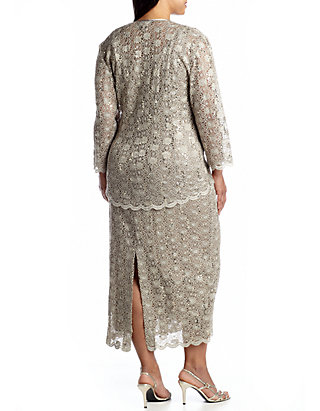 Plus Size Three-Quarter Sleeve Jacket Dress