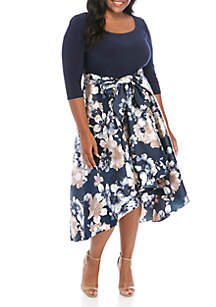 R & M Richards Plus Size 3/4 Sleeve High Low Party Dress