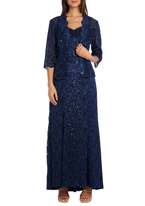 Womens Long Mock Lace Jacket Dress