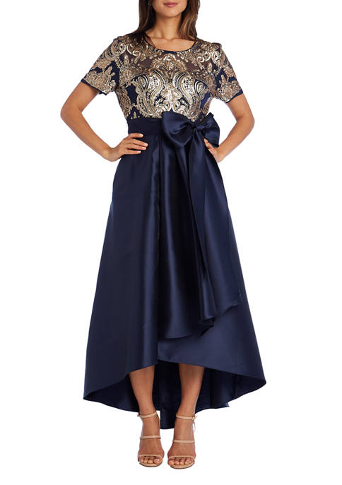 Womens Embellished Sequin High Low Wrap Dress