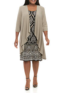 R & M Richards Plus Size Solid Jacket with Printed Dress Set