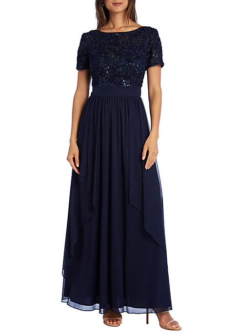Short Sleeve Lace Top Chiffon Gown