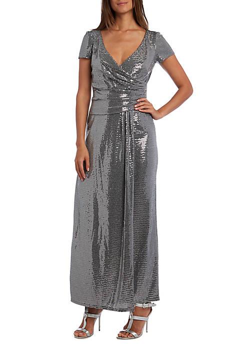 Long Short Sleeve Side Ruched Metallic Gown