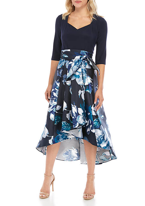 Elbow Sleeve Floral Party Dress