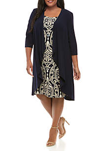 RM Richards Plus Size Printed Dress with Jacket