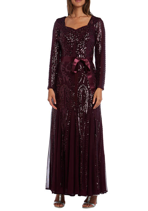 R & M Richards Petite Long Sequin Dress