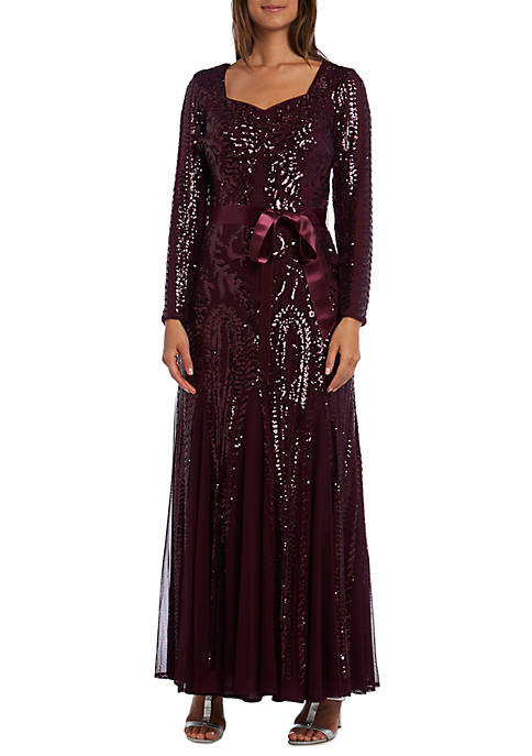 Long Sleeve Sequin Gown with Ribbon Belt