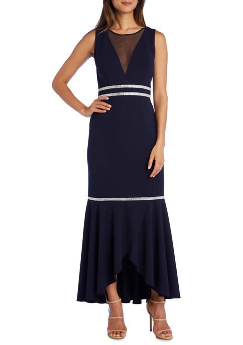 Womens Rhinestone Detail Flounce Dress