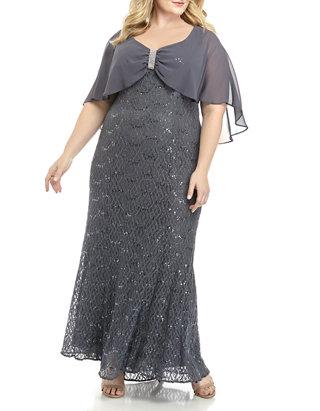 Plus Size Lace Caplet Long Dress