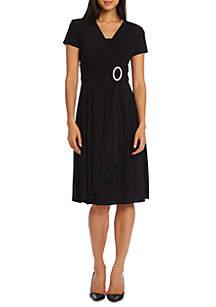 Short Sleeve Jewel Pin Faux Wrap Dress
