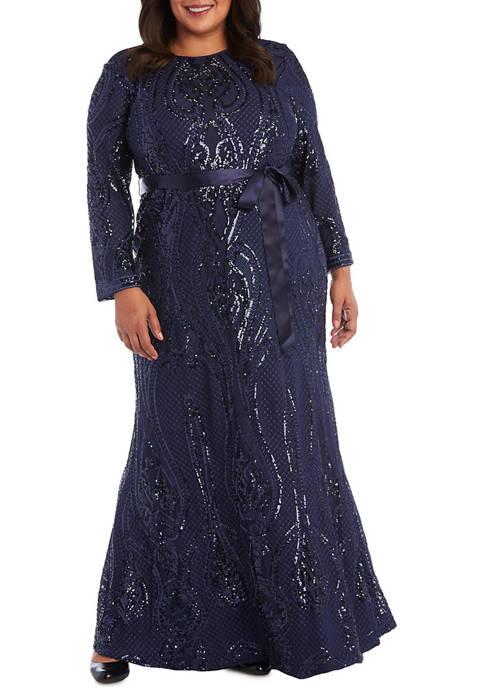 Plus Size Long Sleeve Embellished Long Dress