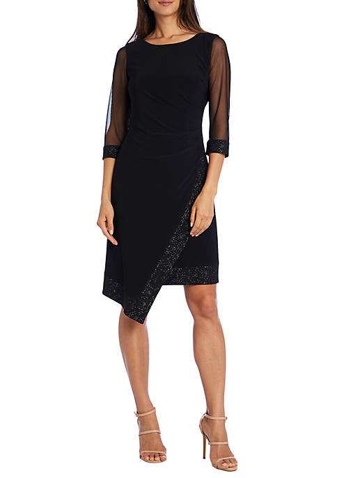 Sheer Sleeve Side Ruched Dress with Trim