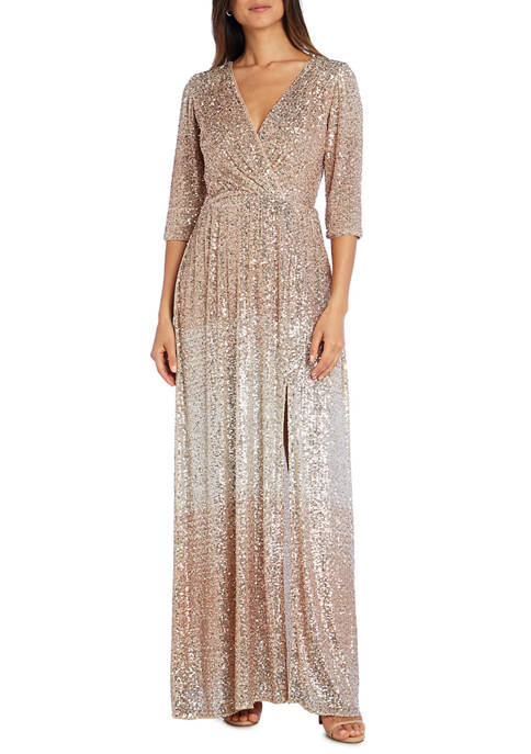 Womens 3/4 Sleeve Sequin Maxi Gown with Slit