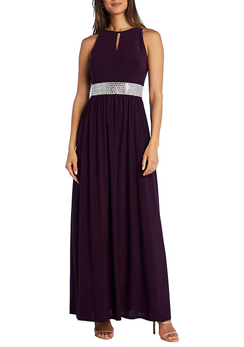 Long Halter Gown with Waist Detail