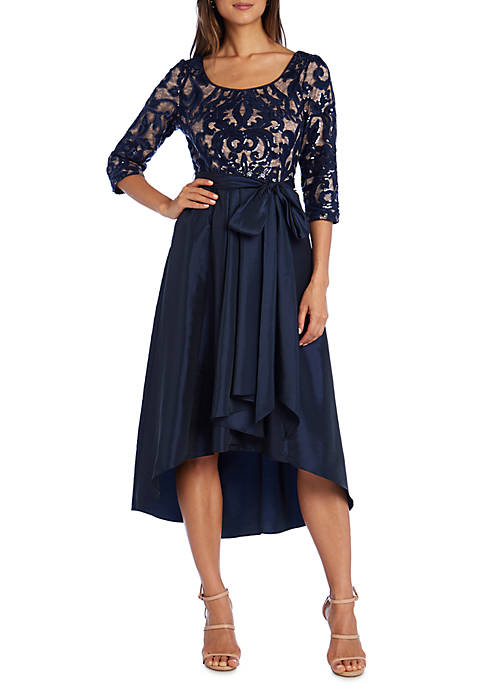 Womens 3/4 Sleeve Beaded High Low Dress