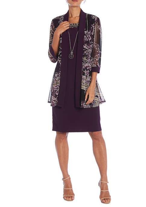 Womens Puff Print Jacket and Solid Dress