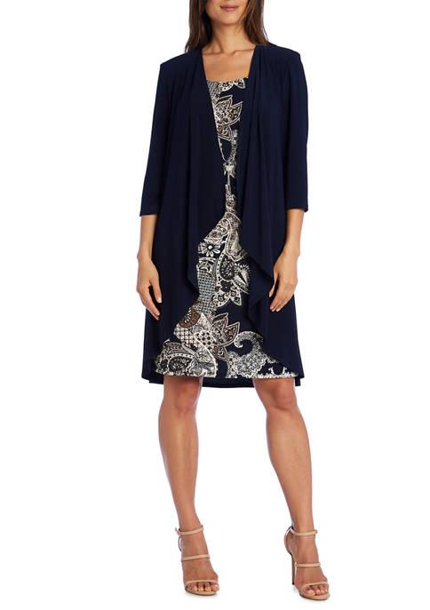 Womens Cascade Jacket and Puff Print Paisley Dress Set