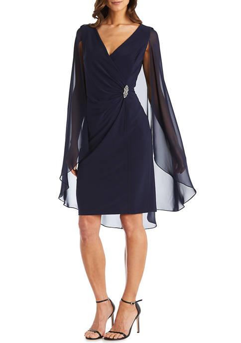 1 Piece Chiffon Duster Cape Surplice Wrap Dress