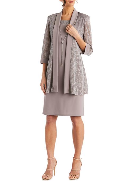 2 Piece Metallic Jacquard Knit Jacket Dress