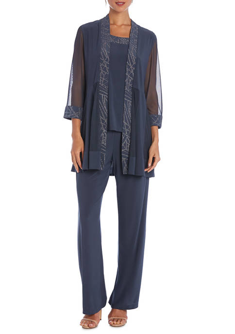 Womens Glitter Detail Jacket Pants Set