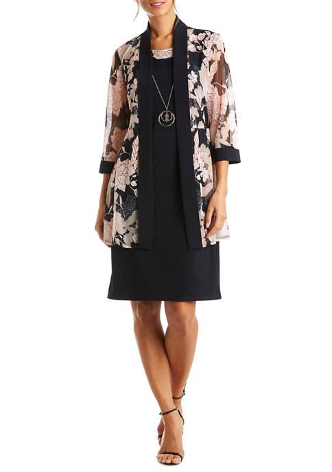 Womens Floral Long Jacket Necklace Sheath Dress