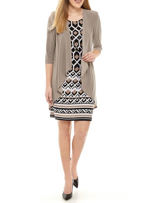 Womens 3/4 Sleeve Jacket and Sheath Dress