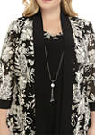 Plus Size 3/4 Sleeve Solid Dress with Puff Print Jacket