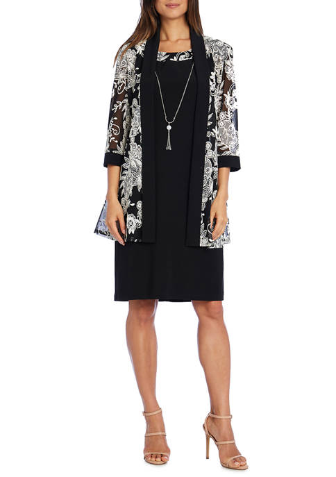 Womens 3/4 Sleeve Solid Dress with Puff Print Jacket