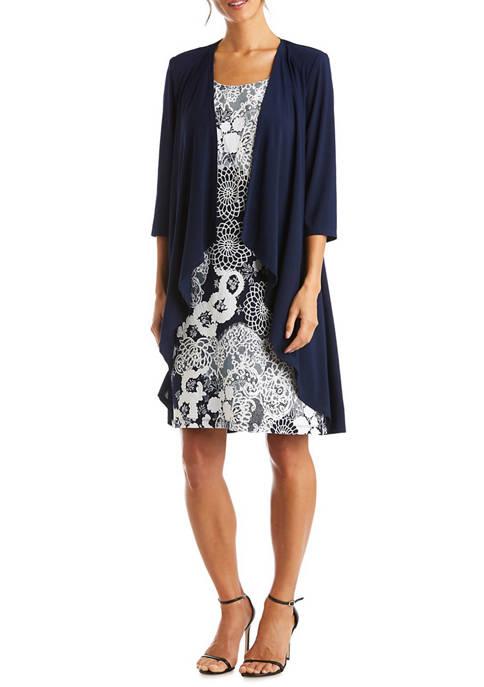 Womens 3/4 Sleeve Long Knit Jacket and Puff Print Dress