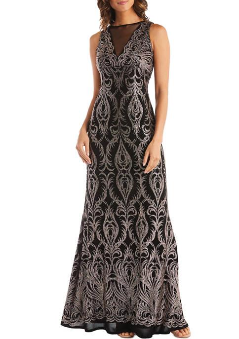 1 Piece Sheer Insert Glitter Placement Slinky Stretch Dress