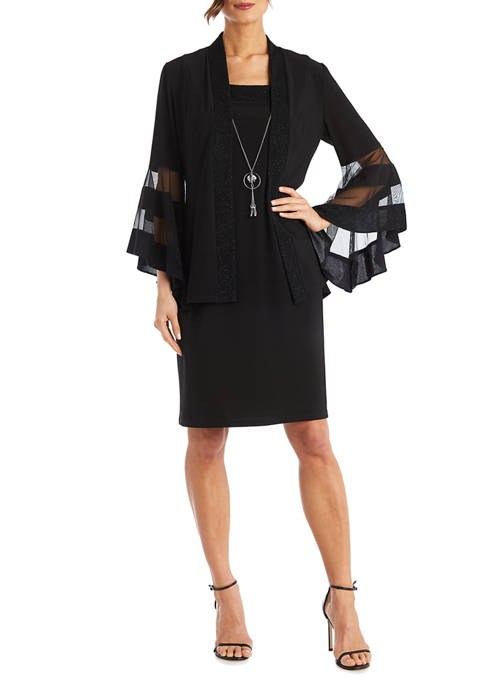 Petite 2-Piece Jersey Knit Glitter Trim Jacket Dress With Illusion Bell Sleeve And Necklace