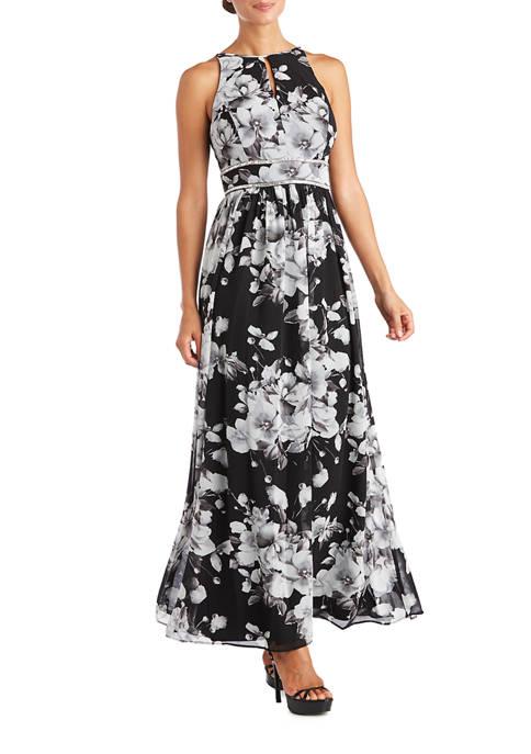Womens Long Printed Chiffon Halter Dress